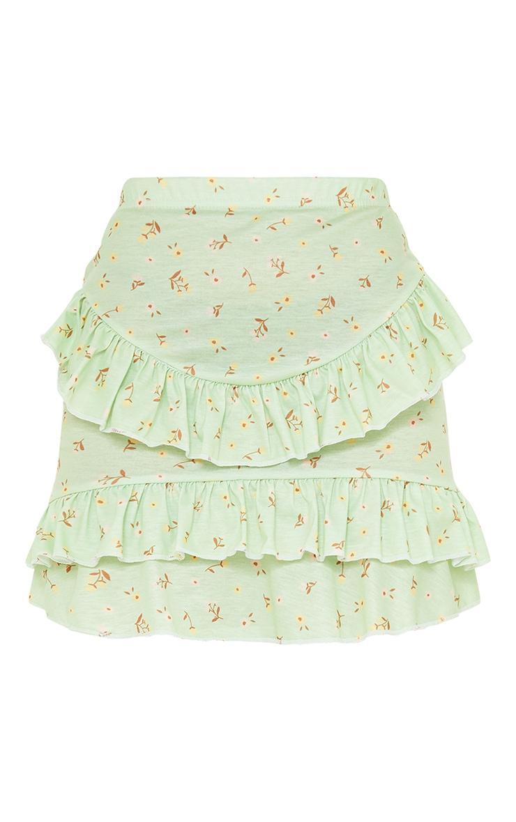 Petite Sage Green Ditsy Floral Ruffle Mini Skirt 6