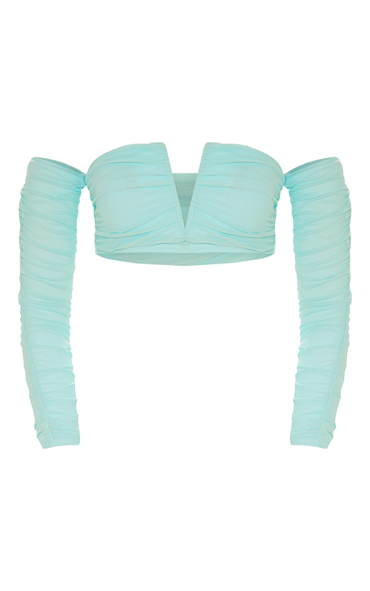 Aqua Second Skin Ruched Mesh Bardot Crop Top 3