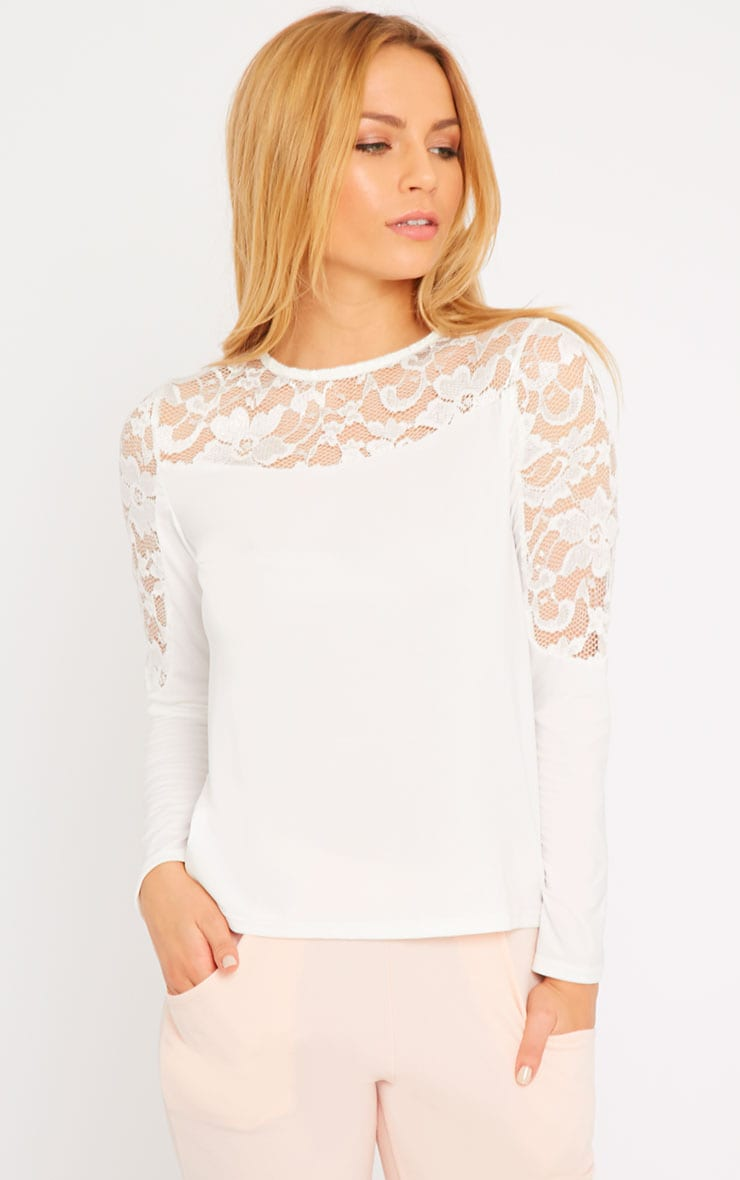 Loretta White Long Sleeve Lace Panel Top 4