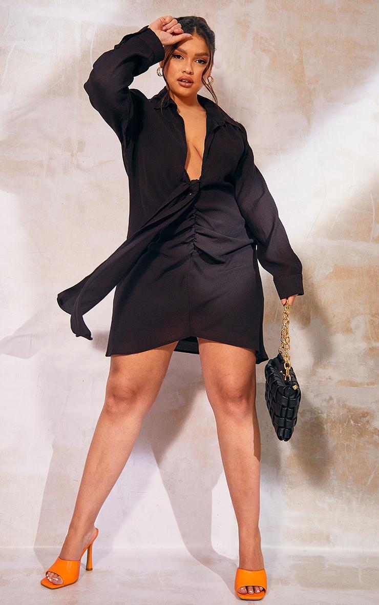 Plus Black Ruched Front Plunge Shirt Dress