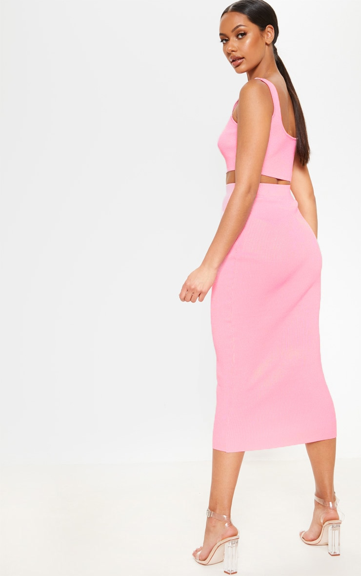 Baby Pink Knitted Ribbed Co Ord  2