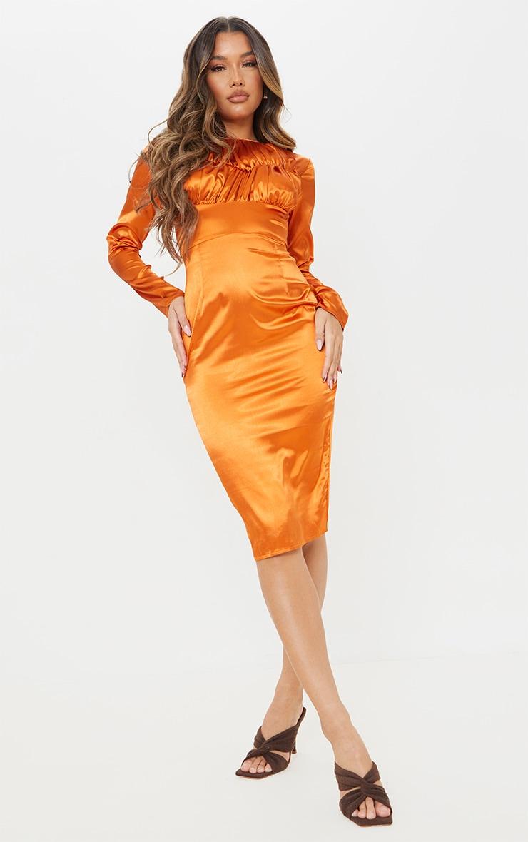 Rust Satin Ruched Bust Detail Midi Dress 3