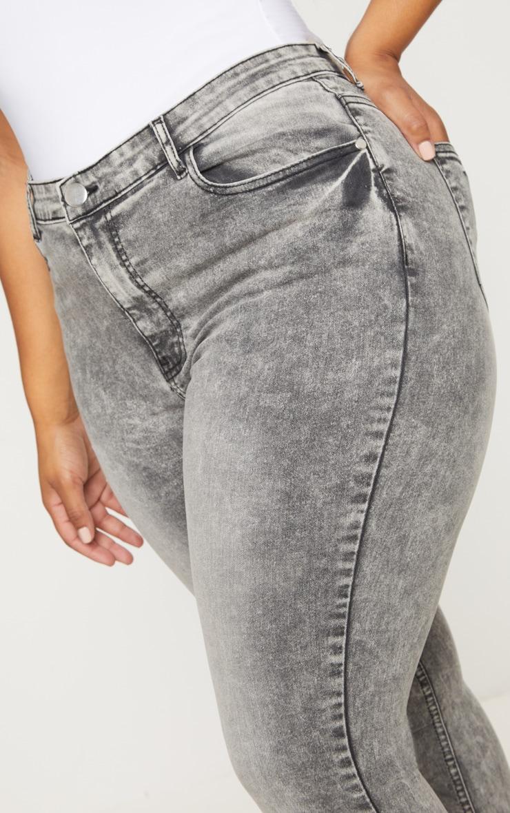Plus Grey Acid Wash Skinny Jeans 5