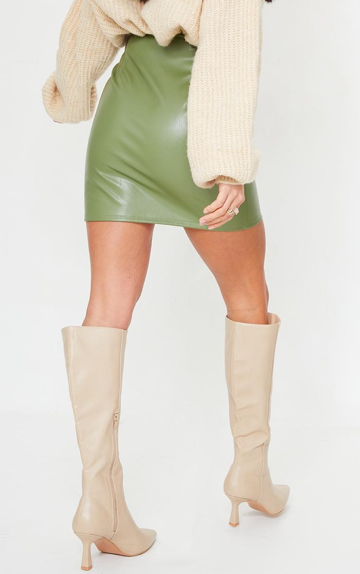 Petite Olive Faux Leather Zip Through Mini Skirt 3