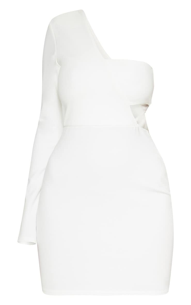 White One Shoulder Bodycon Dress 2