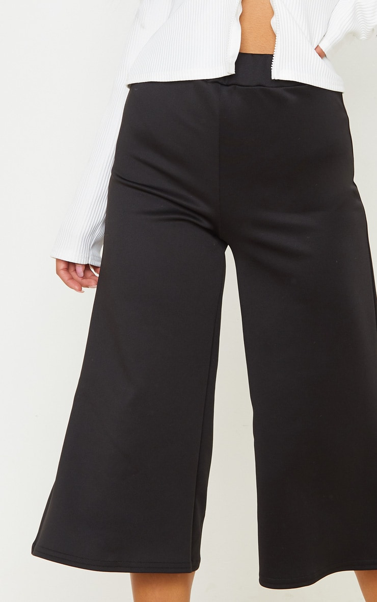 Black High Waisted Scuba Culottes 5