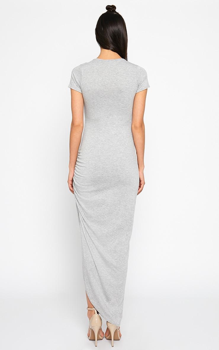 Basic Grey Ruched Cap Sleeve Maxi Dress 2