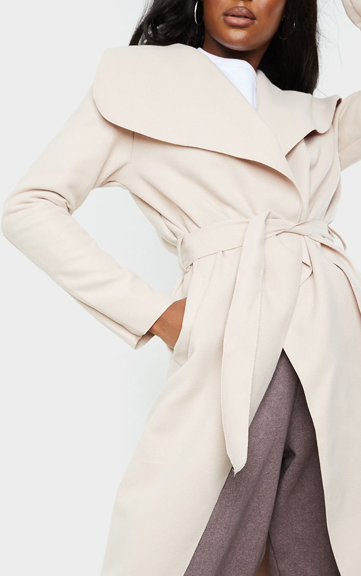 Tall Stone Maxi Length Oversized Waterfall Belted Coat 4