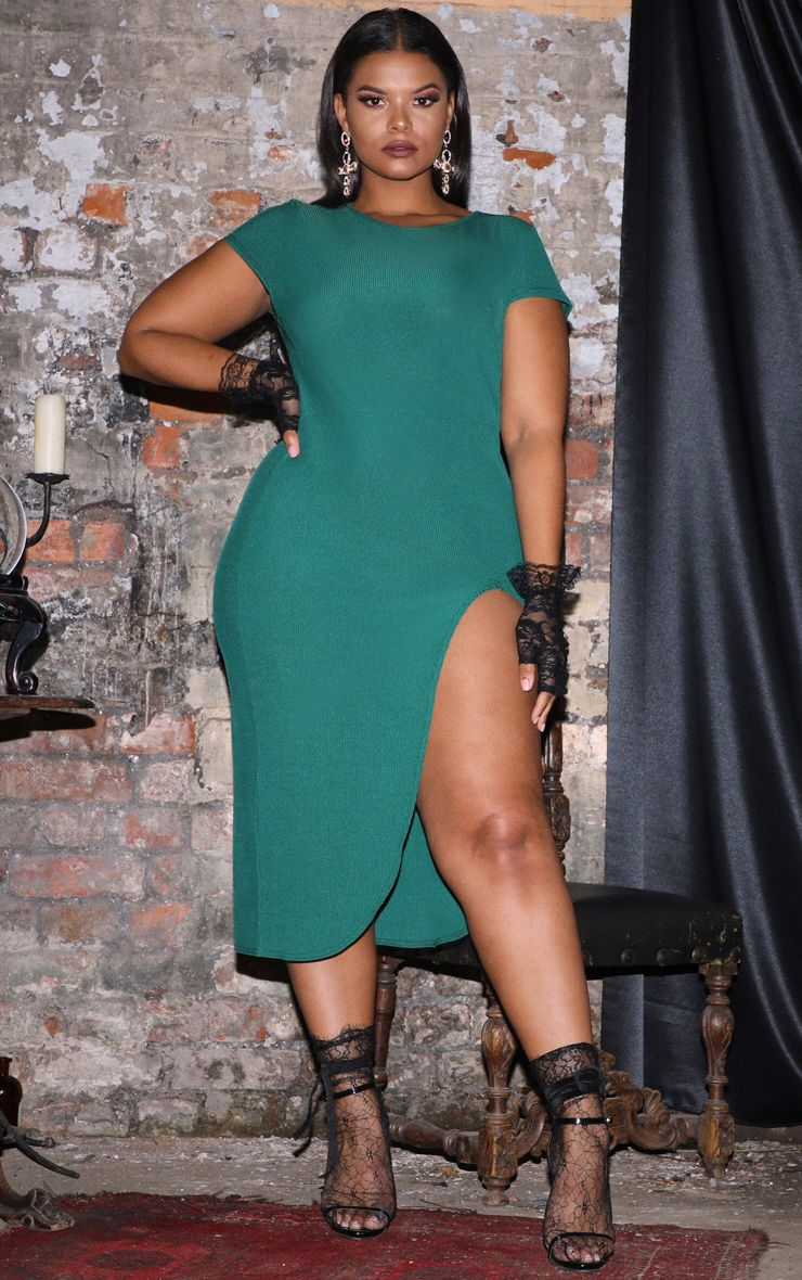 Plus Emerald Green Ribbed Extreme Split Cap Sleeve Midi Dress 1