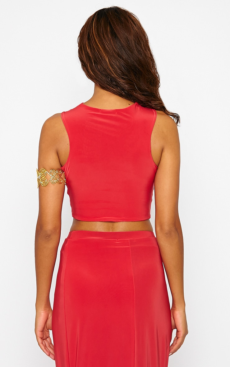 Dalia Red Wrap Crop Top 2