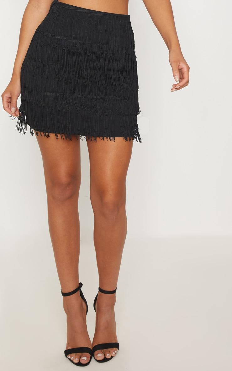 Black Tiered Fringe Mini Skirt 2