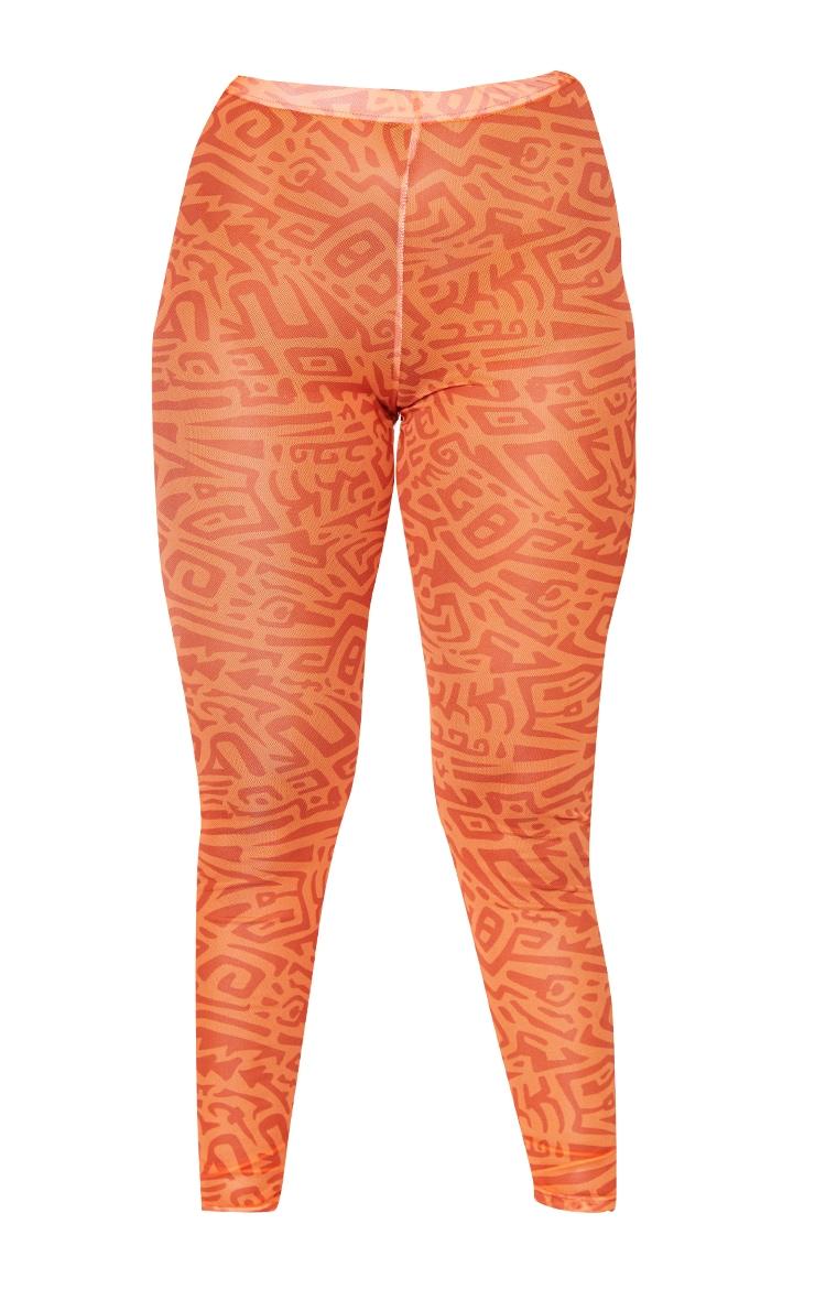 Orange Abstract Printed Mesh Leggings 5