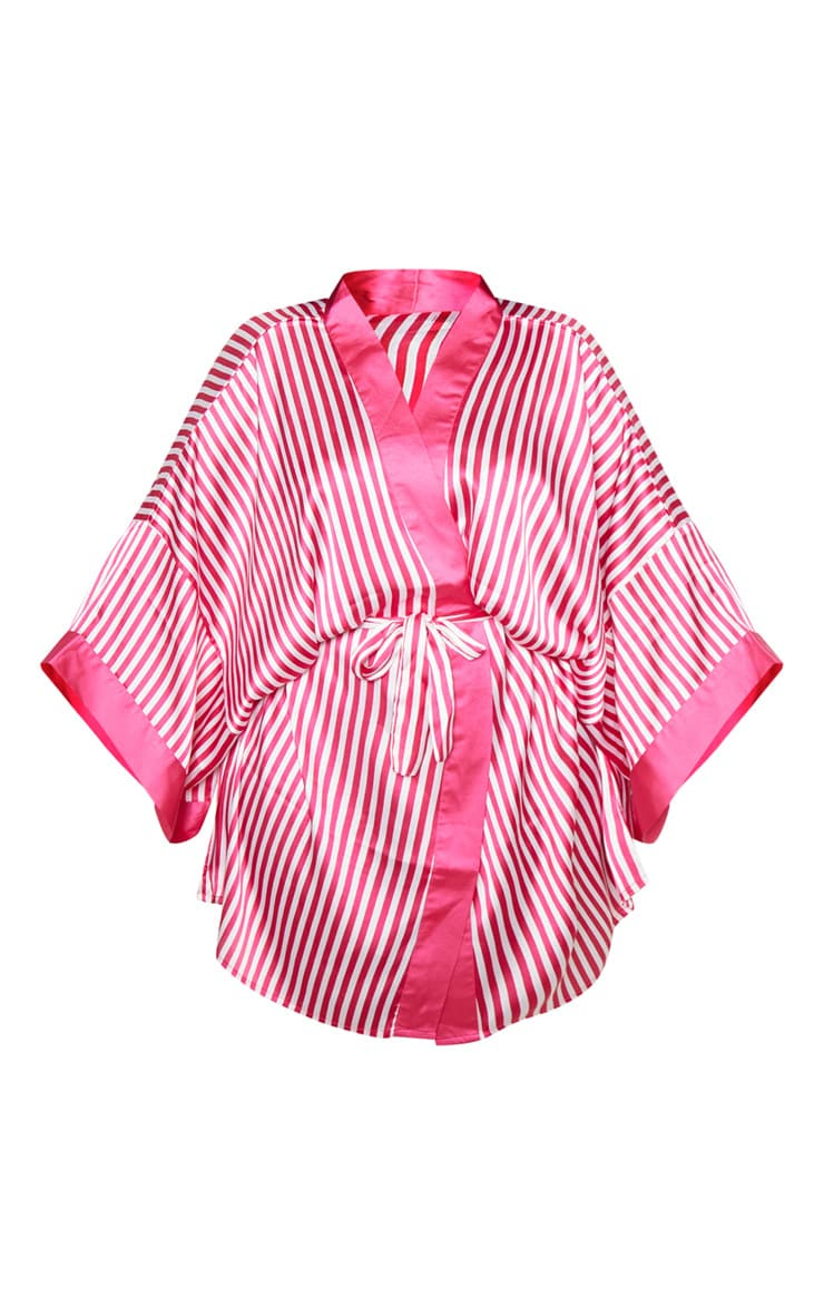 PRETTYLITTLETHING Plus Fuchsia Striped Satin Robe 3