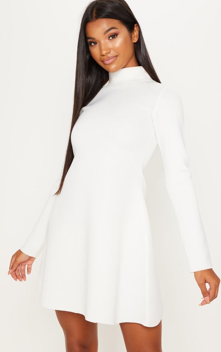 White Bonded Scuba Funnel Neck Skater Dress image 1 c1ffe0a20