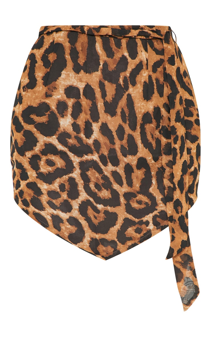 Tan Leopard Tie Waist Handkerchief Skirt 3