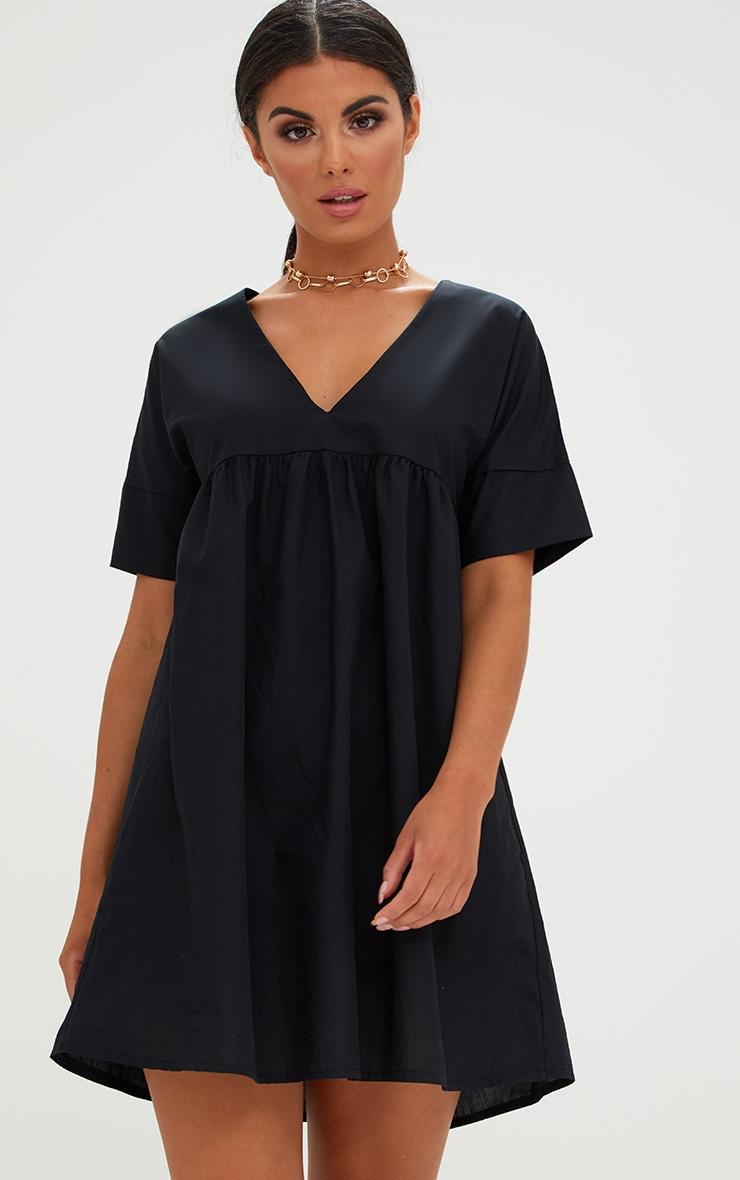 Black Poplin Smock Dress 1