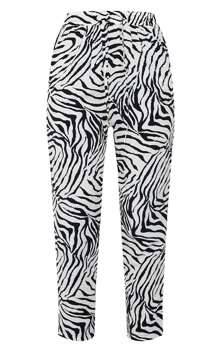 Black Zebra Print Cigarette Trousers 5