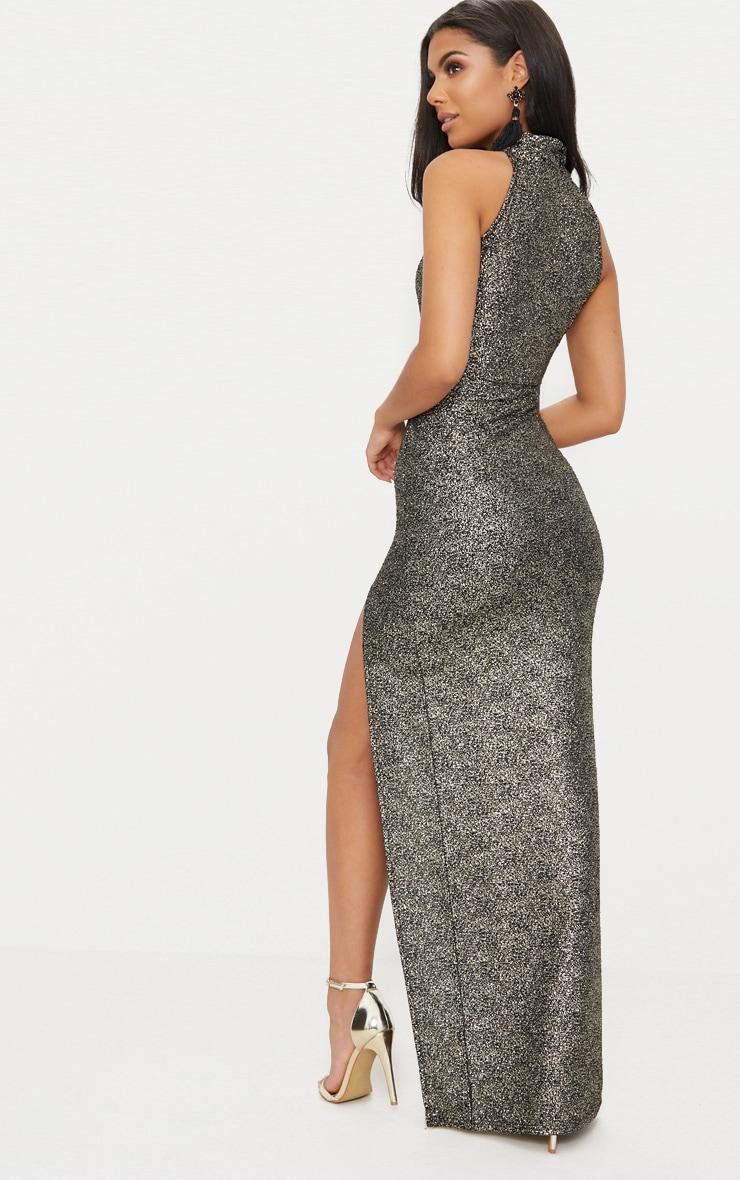 Black High Neck Split Detail Maxi Dress 2