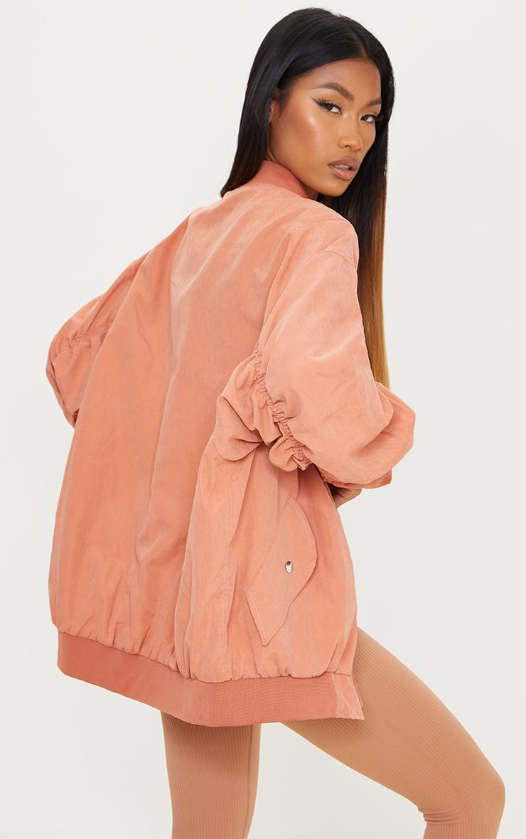 Peach Peach Skin Oversized Ruched Sleeve Bomber Jacket 2