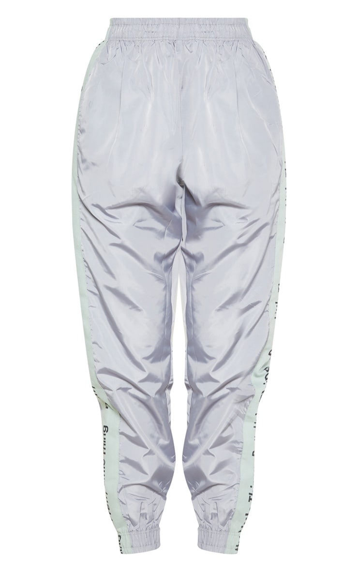 PRETTYLITTLETHING Silver Side Tape Shell Jogger 3