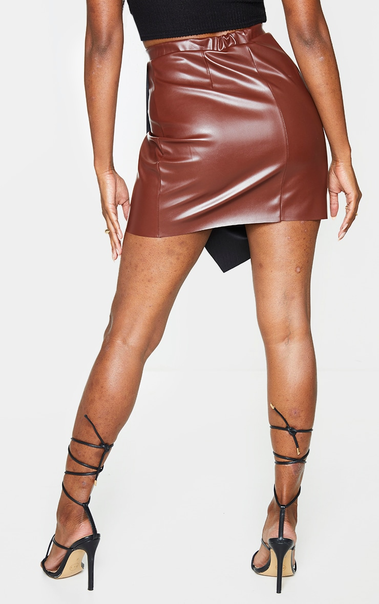 Chocolate Faux Leather Wrap Mini Skirt 3