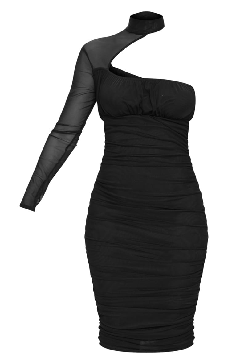 Black Mesh High Neck One Shoulder Midi Dress 5