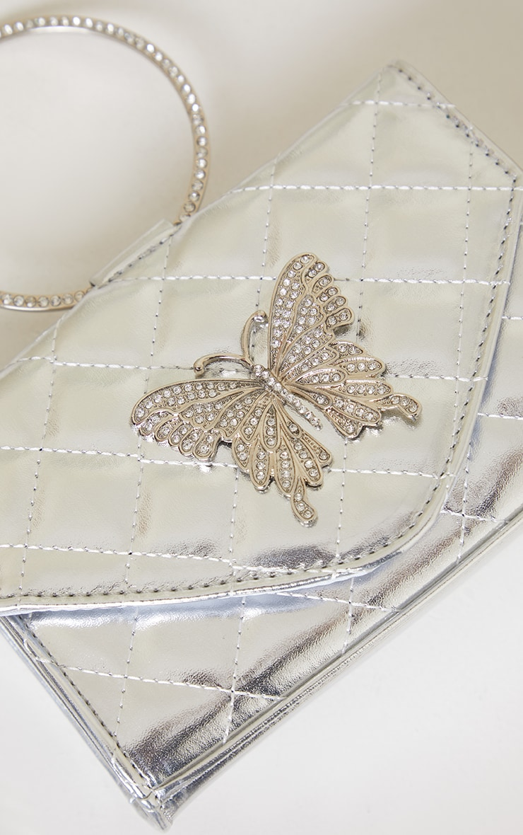 Silver Quilted Circle Handle Butterfly Clutch 2