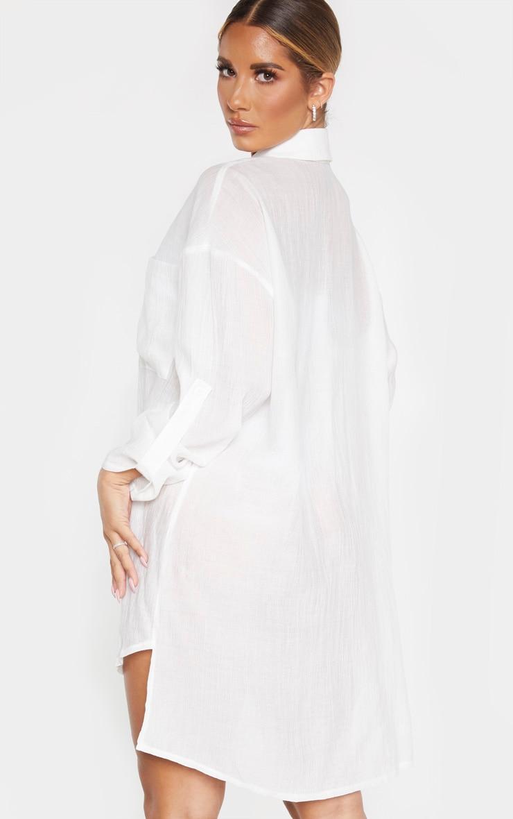 Ecru Oversized Beach Shirt Dress 3