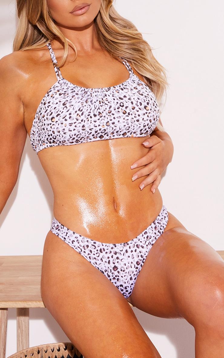 White Leopard V Front Thong Bikini Bottoms 1