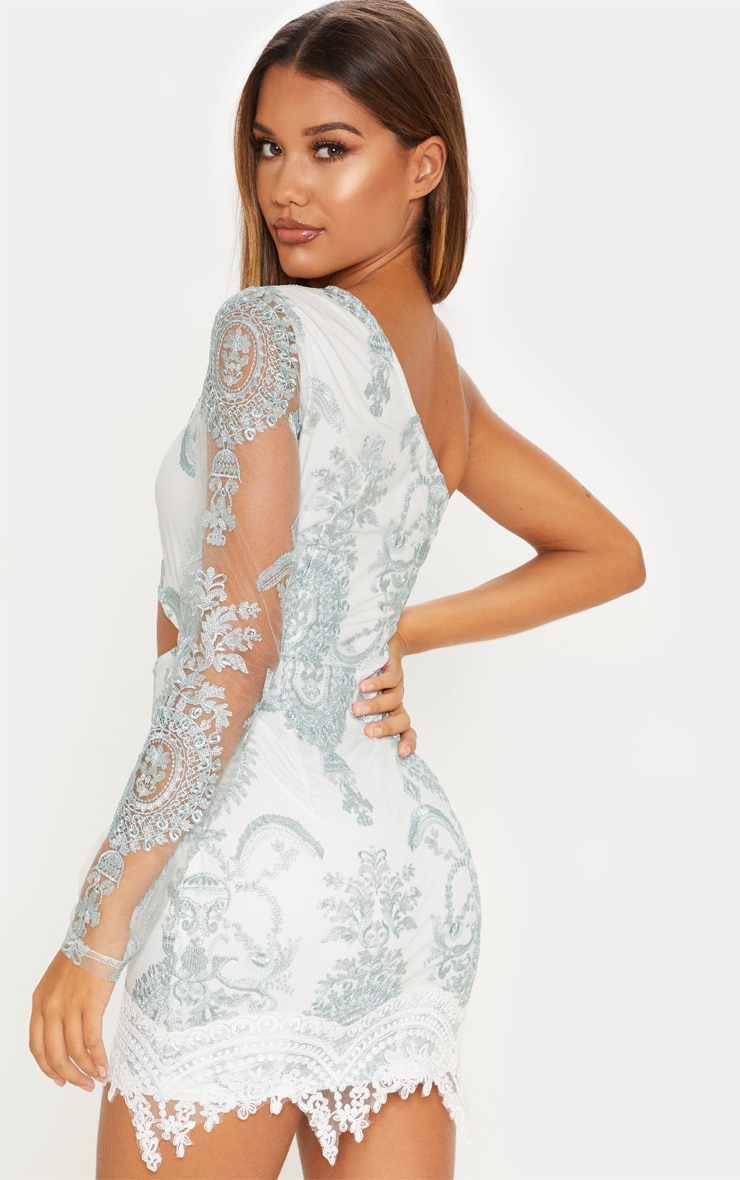 Grey Embroidered Lace One Shoulder Bodycon Dress 2