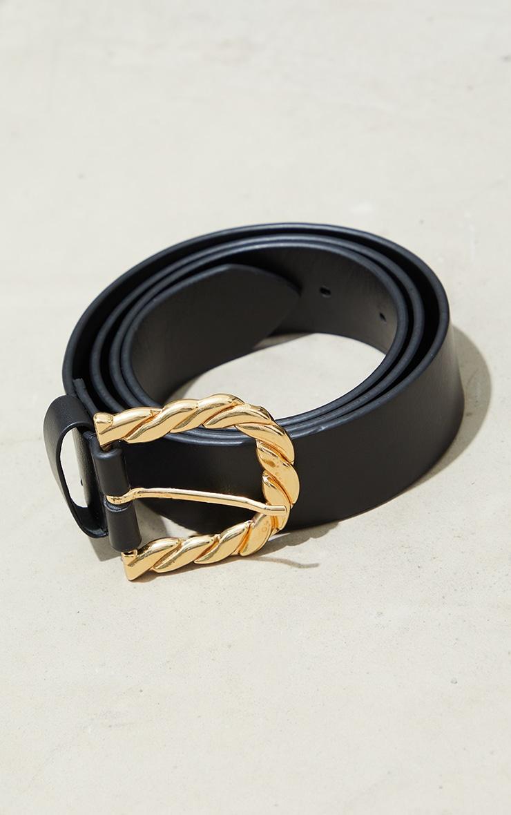 Gold Twist Round Buckle Waist Belt 1