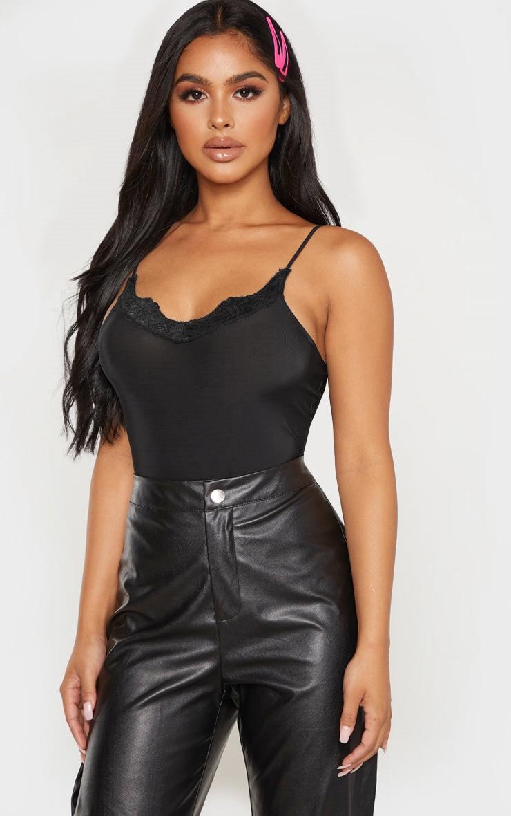 Petite Black Lace Slinky Bodysuit  1
