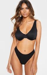 Black Fuller Bust Ribbed Underwired High Apex Bikini Top 1