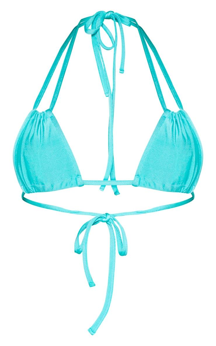 Turquoise Halterneck Mini Ruched Triangle Bikini Top 6