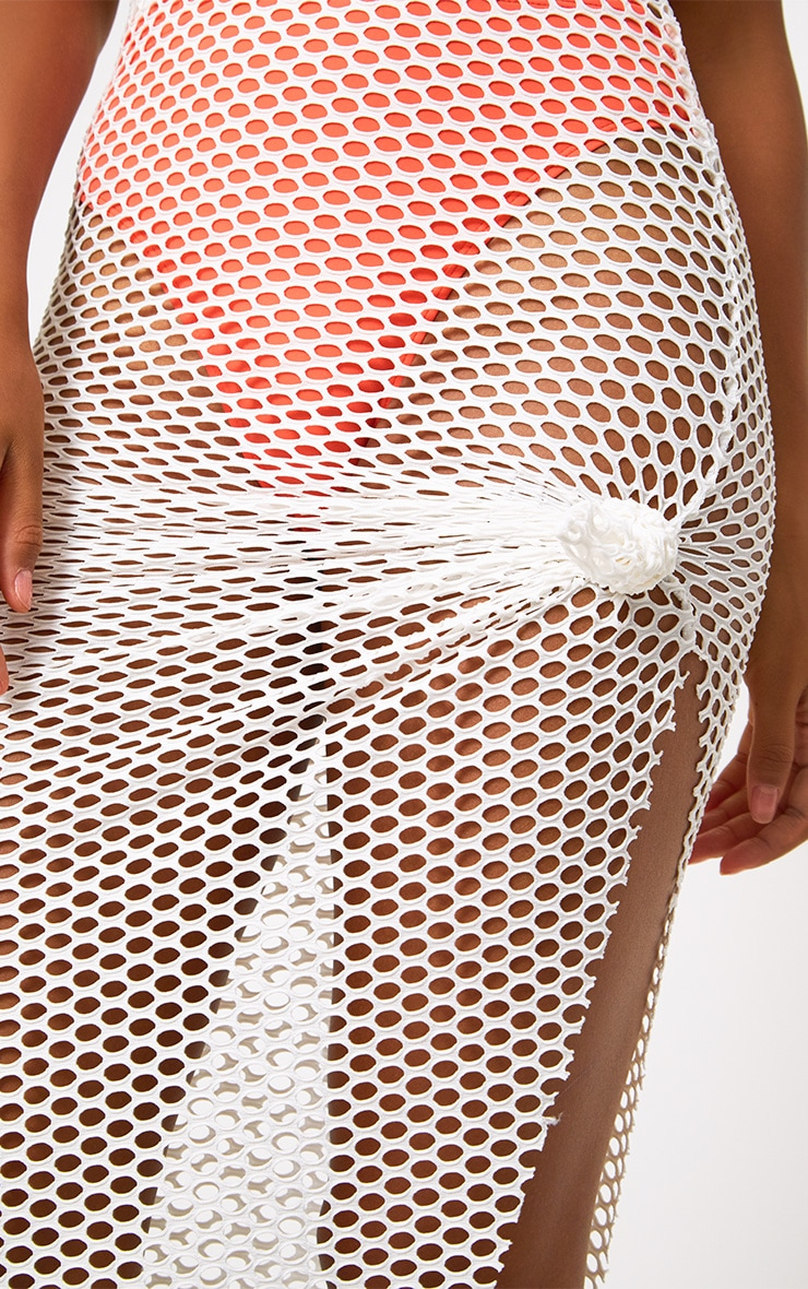 Cream Fishnet Knotted Maxi Skirt 5
