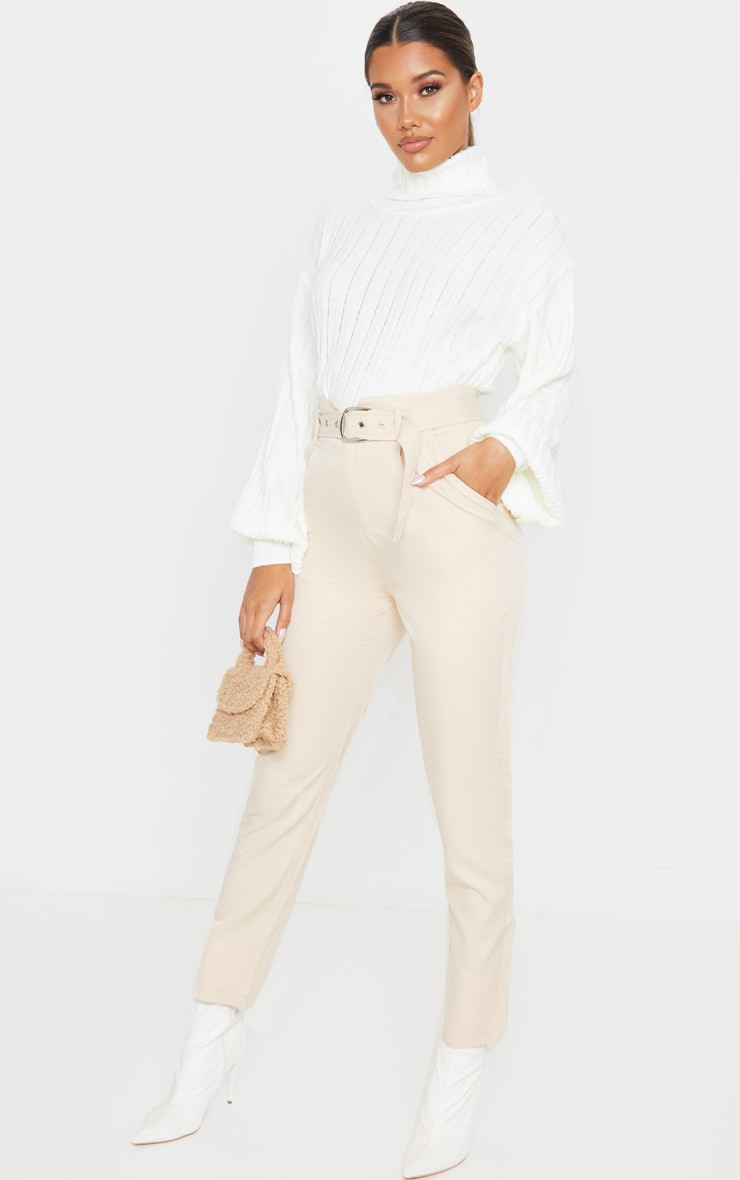 Ivory Balloon Sleeve Roll Neck Ribbed Sweater 4