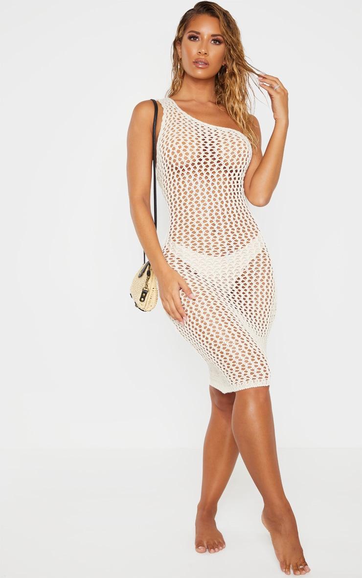 Cream Asymmetric Crochet Knit Dress 1