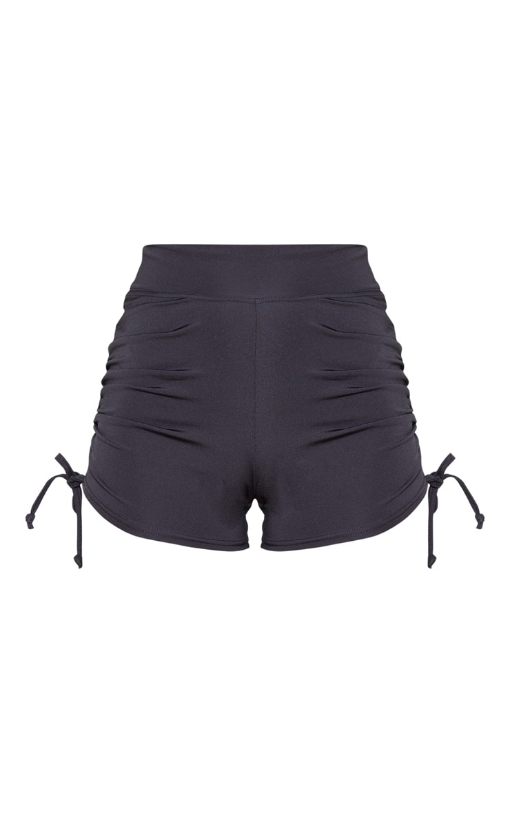 Black Ruched Side Seam Booty Shorts 3