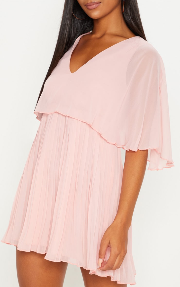 Dusty Pink Cape Pleated Detail Skater Dress 5