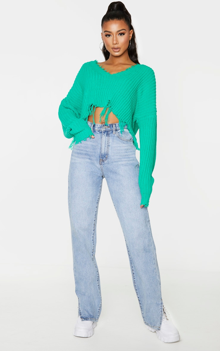 Green Fringe Hem Knitted Sweater 4