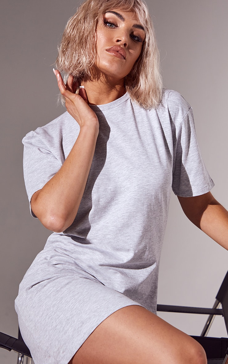 Essential Grey Marl Cotton Blend Basic Fitted T Shirt Dress 4