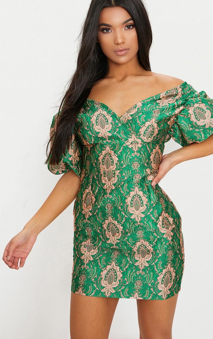 Green Jacquard Puff Sleeve Plunge Bodycon Dress 1