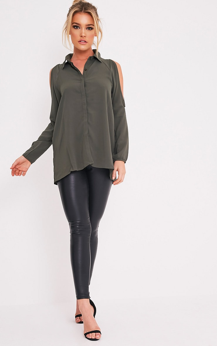 Lorisa Khaki Cold Shoulder Floaty Blouse 5