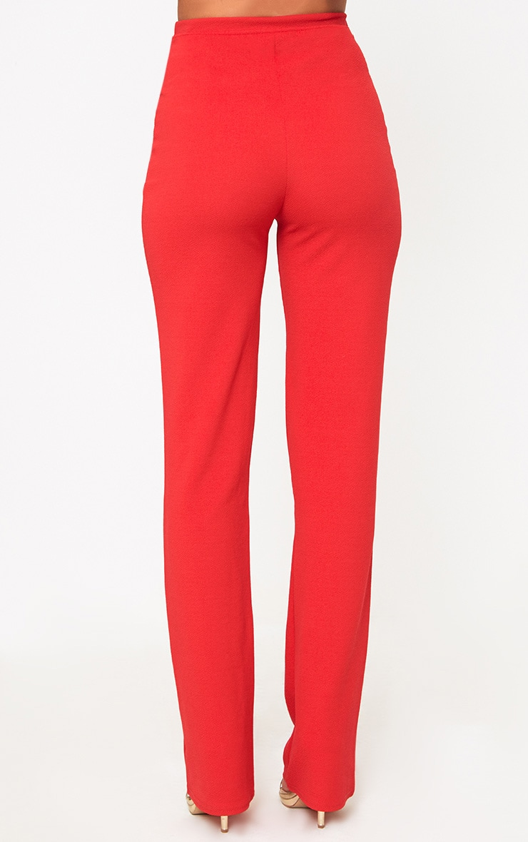 Red Straight Leg Suit Pants 4