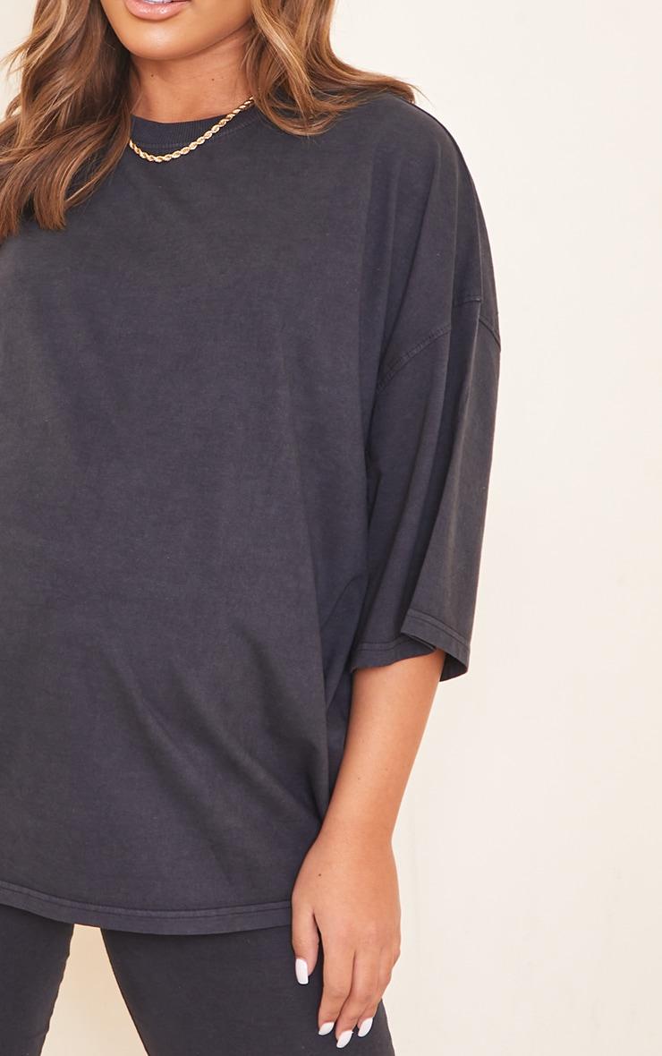 Maternity Acid Wash Grey Oversized Cotton T-Shirt 4