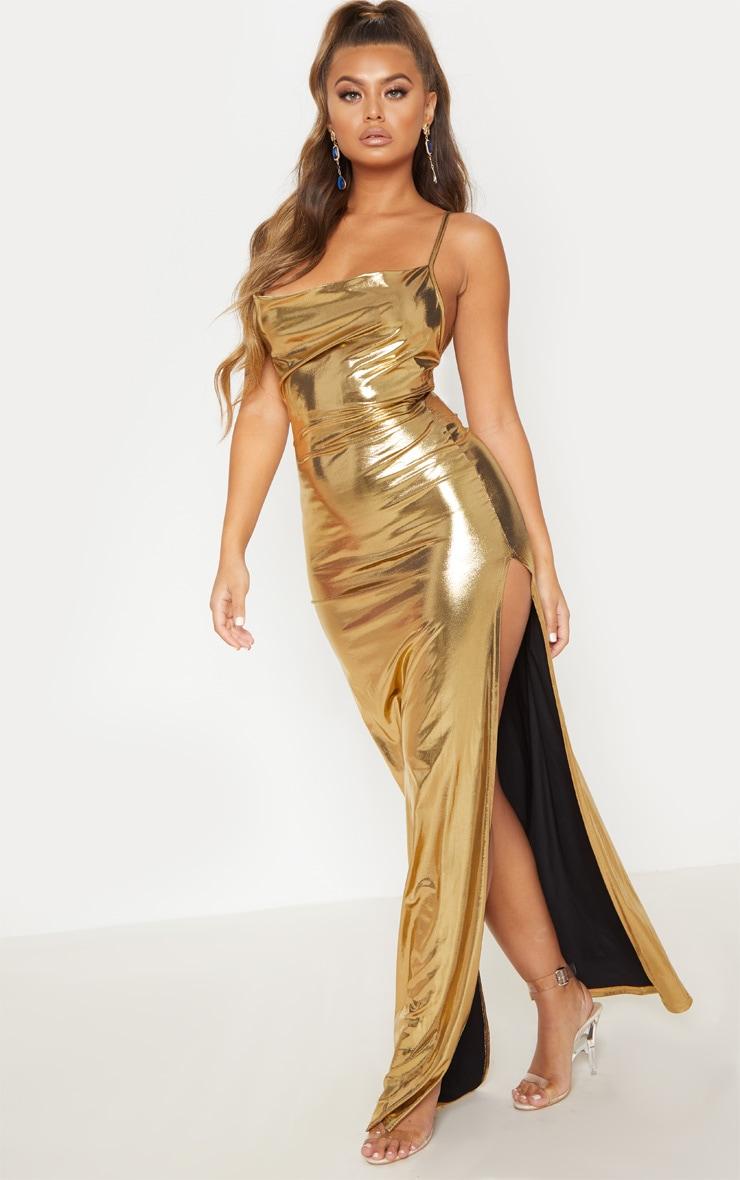 Gold Metallic Cowl Neck Maxi Dress 4