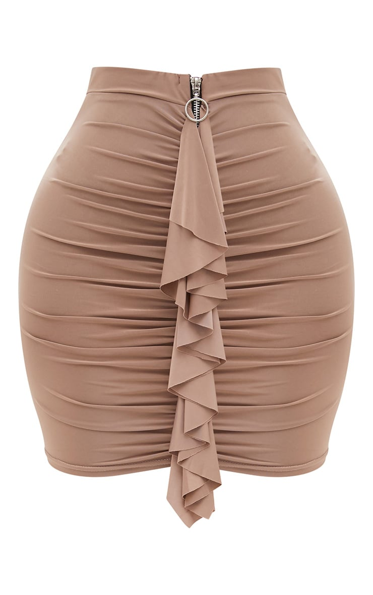 Shape Taupe Ruched Zip Front Mini Skirt  3