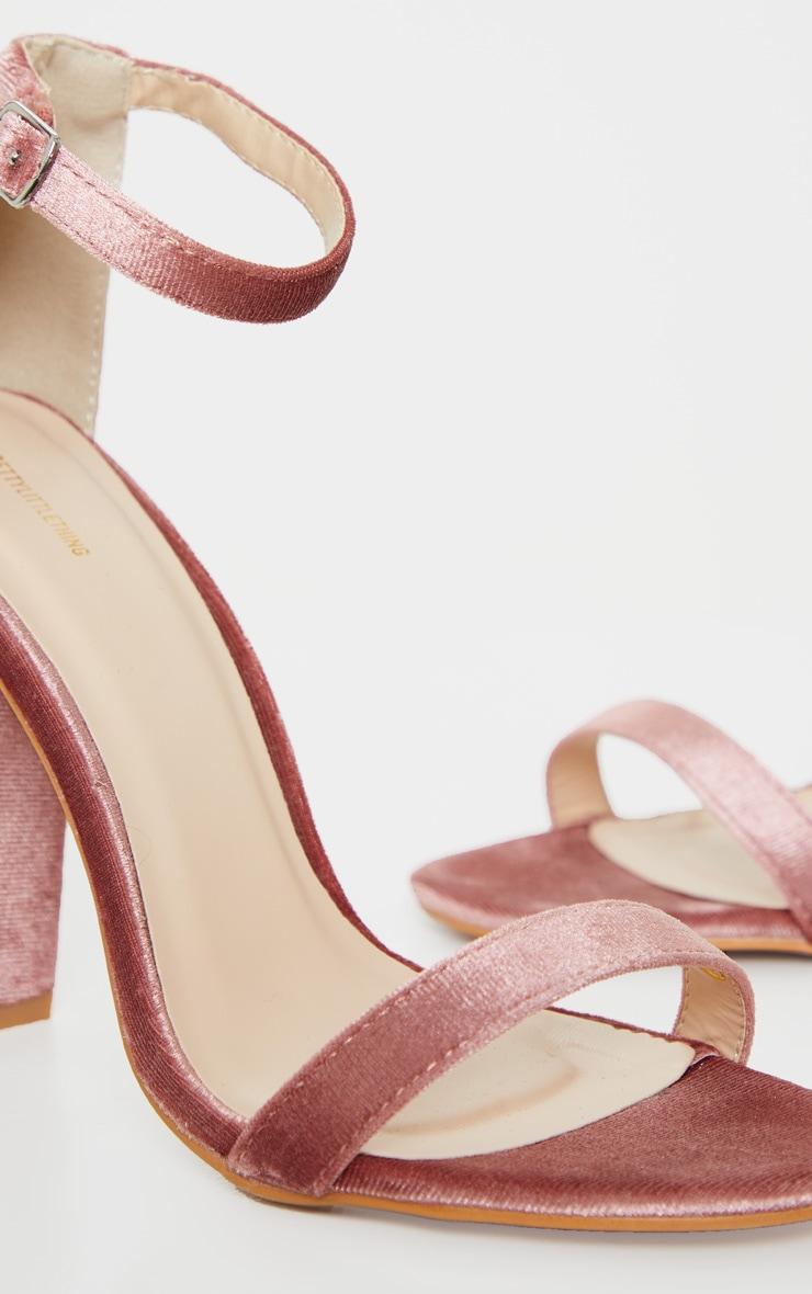 Blush Velvet May Heeled Sandals 4