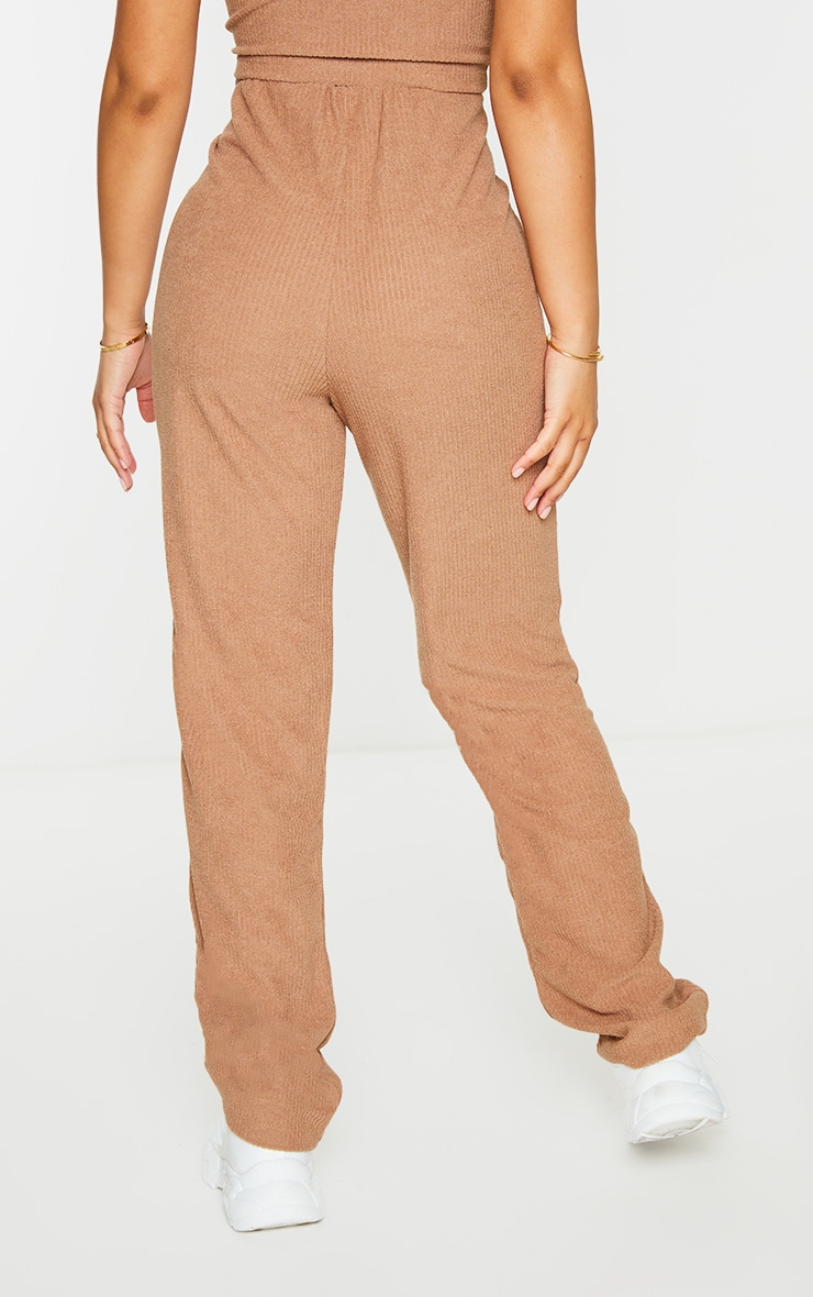 Petite Brown Towelling Rib High Waisted Flared Trousers 3