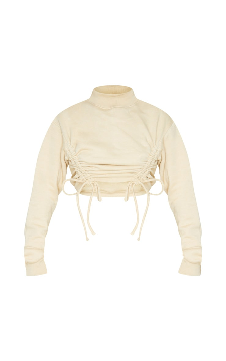 Stone Ruched Tie Front Crop Sweater 6